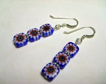 Red, White and Blue Millefiori Triple Stack Earrings