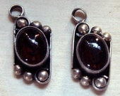 2 SEXY RED GARNET pendants set in Sterling Silver with granulation 8.33mm x 18.50mm long