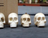 Small Hand Carved Skull Beads -6- Carved in Bali from Naturally Shed Deer Antler