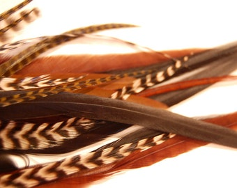 20 Hair Feathers - NATURAL COLOR MIX - salon style extensions with 10 crimp beads in your color choices