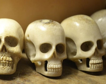 2 XL Hand Carved Skull Bead - Carved in Bali from Naturally Shed Deer Antler