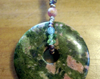 Vintage unakite pendant with hand beaded bail heart chakra price reduced from  25