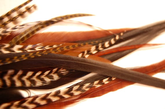 3 Hair Feathers - NATURAL COLOR MIX - salon style extensions with 1 crimp beads in your color choices
