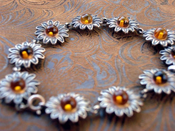 Amber and Sterling silver flower bracelet made with natural Baltic amber perfect that special someone