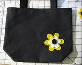 RESERVED FOR KIM - 4 black totes with yellow and white flowers