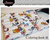 Coloring book & crayon tote, PDF pattern ebook, INSTANT DOWNLOAD
