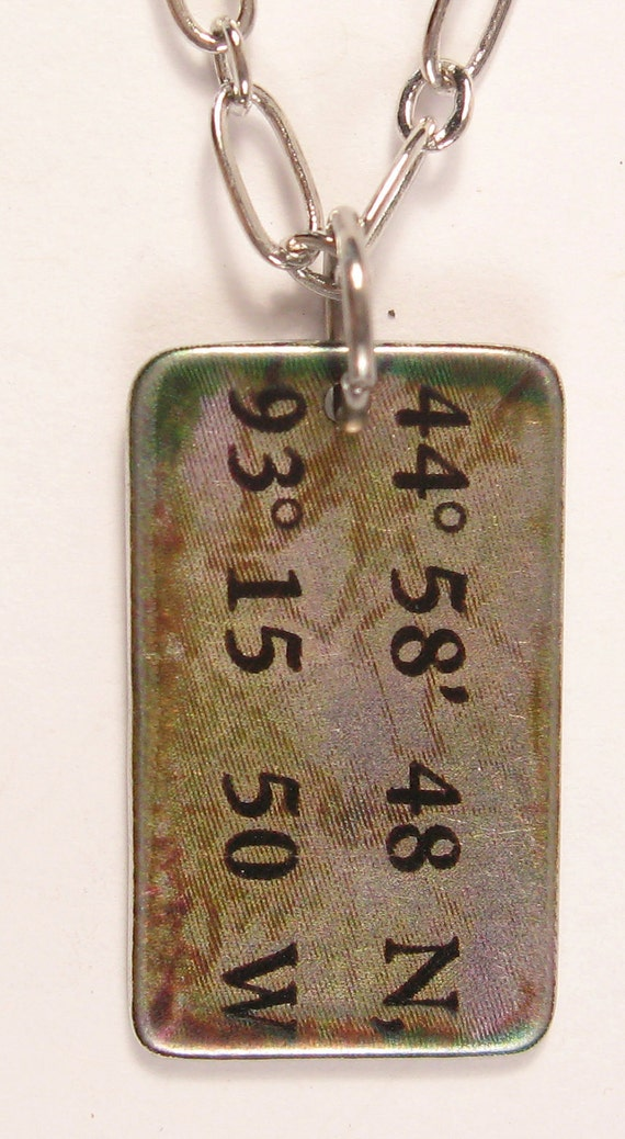 Custom Latitude and Longitude Coordinates Location Necklace
