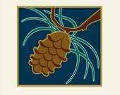 Pine Cone Art print, Arts and Crafts Style