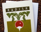 Radish & Radish Pattern set of 4 blank note cards