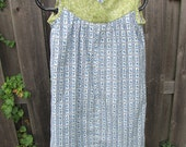 Blue and Green Cotton Print Sleeveless Dress or Nightgown