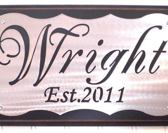 CUSTOM Name sign - WEDDING- 10 Year Anniversary Gift -  PERSONALIZED Plaque - elegant-personalized -silver -cedar - door - entryway - office