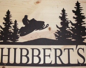 PERSONALIZED SNOWMOBILE SIGN - Sledding - Grooms Gift- Steel- Anniversary - Wedding - Family name - Cabin - Camping - Rustic
