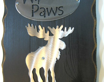 WIPE Yer' PAWS MOOSE plaque sign remove shoes Free SHIPping