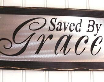 SAVED by GRACE sign shelf sitter peice Elegant Home decor FREE shipping Inspirational, Christian, baptism
