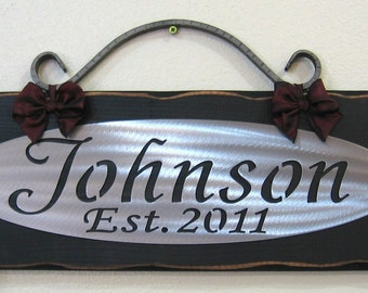 PERSONALIZED FAMILY NAME - Custom sign Wall - plaque - Wedding Gift - 10 year Anniversary -Bridal Gift - Metal on wood- wrought iron scroll