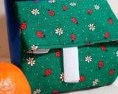 Food wrapper green with ladybugs print reuseable