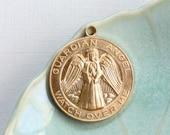 Guardian Angel jewelry token pendant . Watch Over Me . 28mm x 24mm (ST23). Please read description