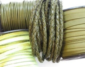Leather Cord Combo in Forest and Lime Green . Cord, Bolo, Suede and Deertan Lace . 24 inches each of 4 styles in 1.5mm 3mm 5mm