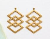 6 Diamond CHEVRON shaped jewelry pendants or earring drops . 24mm x 37mm (ST62). Please read description