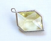 SALE 1 Yellow Faceted Glass Pendant. Large GEOMETRIC shape with textured bezel. (IB251s)