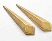 4 Diamond faceted geometric jewelry pendant. Super long 68mm x 10mm x 6mm (S37). Please read description
