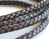6mm Leather BOLO cord in Aged Brown 12 inches . High quality using lead free dyes
