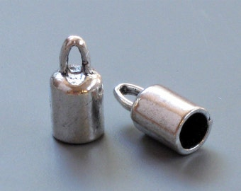 50 large cord jewelry End Caps with loop. 4.8mm inside diameter (EC1as)