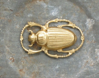 SCARAB beetle raw brass connector charm.  32mm x 20mm (FF10)