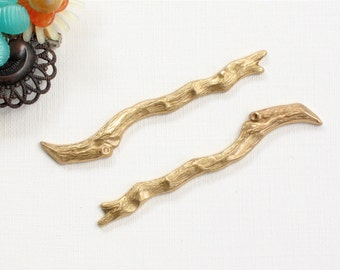 2 brass TWIG branches jewelry embellishments (ST47)