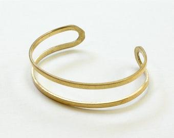 2 Blank double band BRACELET jewelry cuff . Brass  (S201)