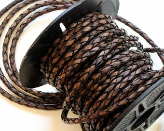 3mm Leather BOLO cord in Aged Brown 12 inches . High quality using lead free dyes