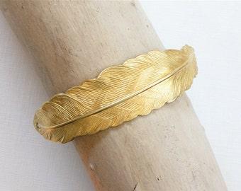 2 brass FEATHER jewelry CUFF Bracelet piece 83mm x 17mm (ST4b)