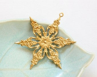 2 large, gold SNOWFLAKE craft embellishment charm. 2 inches (FFx5)