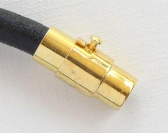 3 CLASP end bead cap for bracelets.  Magnet twist clasp in gold tone. 5mm inside diameter