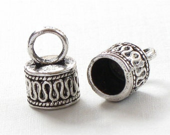 30 large silver jewelry End Cap beads with loop for 7mm leather (EC10as)