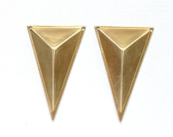 4 TRIANGLE faceted geometric jewelry pendant . 39mm x 24mm x 8mm (S36). Please read description.