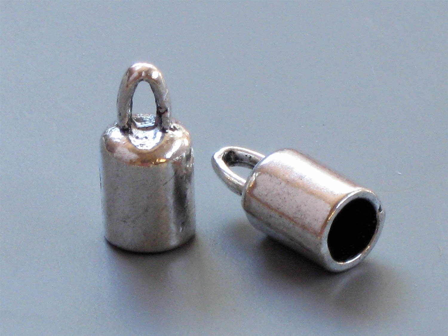 Large cord jewelry end caps with loop mm inside