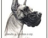 Great Dane Dog Fine Art Note Cards