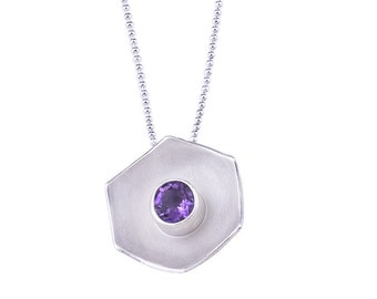 Sterling Hexagon Dome Necklace