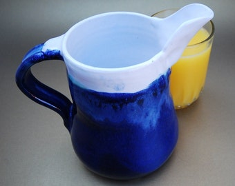 Ceramic Juice Pitcher,  20 oz Chilled Creamer, Milk or Water Jug, Gravy Jug,  Syrup Pitcher, Bed and Breakfast Pitcher, Country Kitchen