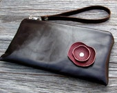 NEW ITEM - Leather Wristlet Wallet with detachable strap - Burgundy Poppy on Chocolate