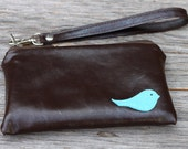 LAST ONE - Small Leather iPhone Wristlet with detachable strap - Blue Bird on Deep Chestnut