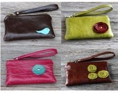 Small Leather iPhone Wristlet with detachable strap - Design Your Own