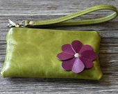 LAST ONE - Small Leather iPhone Wristlet with detachable strap - Purple Floral on Distressed Kiwi