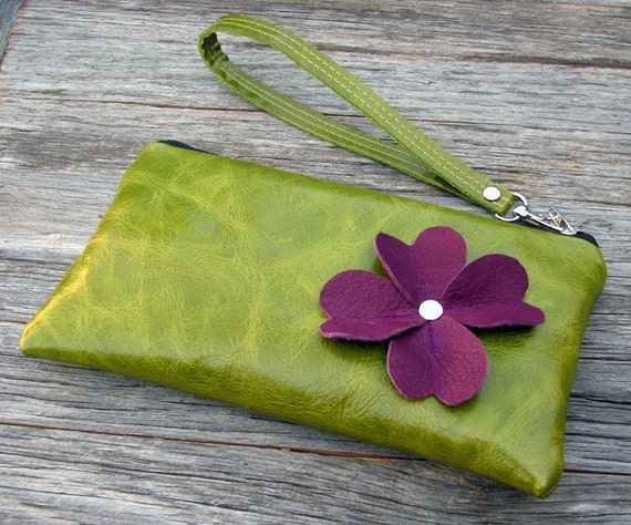 Leather Wristlet Wallet with detachable strap - Purple Floral on Distressed Kiwi