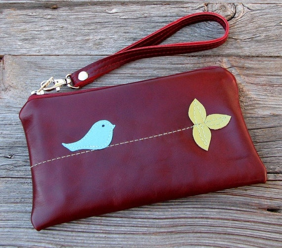 Leather Wristlet with detachable strap - Blue Bird in Tree on Deep Red