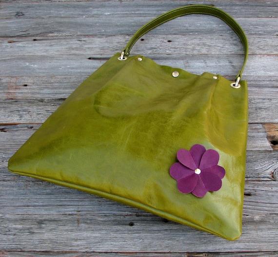 LAST ONE - Leather Pleated Tote Bag  - Large Handbag  - Purple Flower on Distressed Kiwi