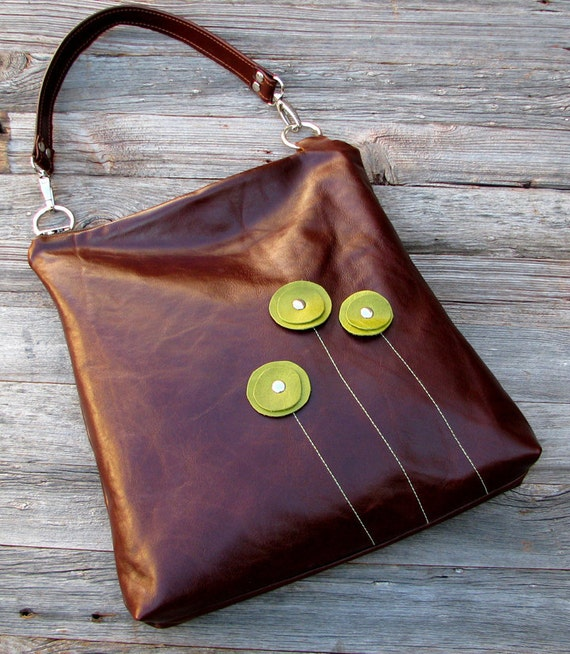 RESERVED - LAST ONE - Leather Handbag - Shoulder Sling - Green Poppy Blooms on Redwood