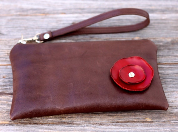 Limited Availability - Leather Wristlet Wallet with detachable strap - Candy Apple Red Poppy on Distressed Milk Chocolate
