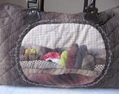 Boston Bag Handbag, OOAK appliqued Village scene - hand quilted